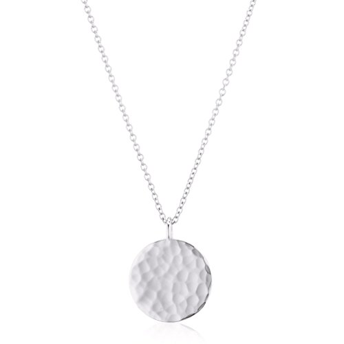 Pendant Hammered Silver (Fettero Necklace for Women Dainty Handmade Hammered Sterling Silver Plated Carved New Circle Full Round Wafer Waning Waxing Moon Phase Pendant Chain Minimalist Jewelry (Full Moon Silver))