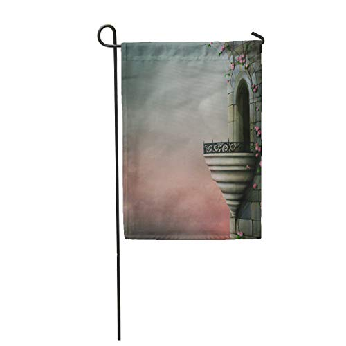 Semtomn Garden Flag 28x40 Inches Print On Two Side Polyester Blue Fantasy Gothic Tower and The Beautiful Roses Gray Palace Window Ancient Bal Home Yard Farm Fade Resistant Outdoor House Decor Flag ()