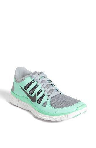 Nike Women's Free 5.0+ - Silver / Charred Grey-Green Glow, 6 B US