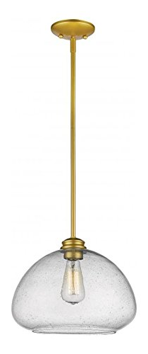 Satin Clear Gold Pendant (722P13-SG Satin Gold Amon 1 Light Pendant with Clear Bowl Glass Shade)