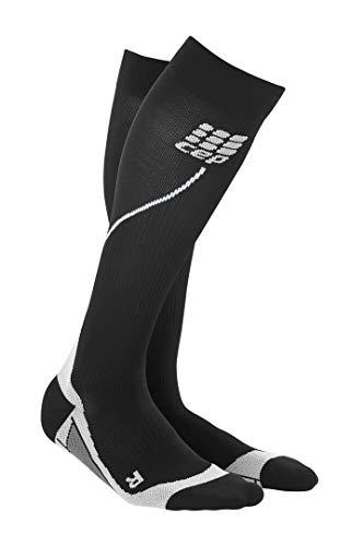 CEP Men's Progressive+ Compression Run Socks 2.0 for Running, Cross Training, Fitness, Calf Injuries, Shin Splits, Recovery, and Athletics, 20-30mmHg Compression, Black/Grey, Size 3
