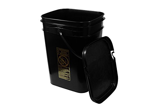 Dimensions 5 Gallon Bucket (5.3 Gallon Black Rectangular Bucket/Pail with Hinged Snap Lid)