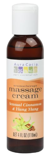 Aura Cacia Massage Cream, Sensual Cinnamon and Ylang Ylang, 4 Fluid Ounce - Sensual Ylang Massage Oil