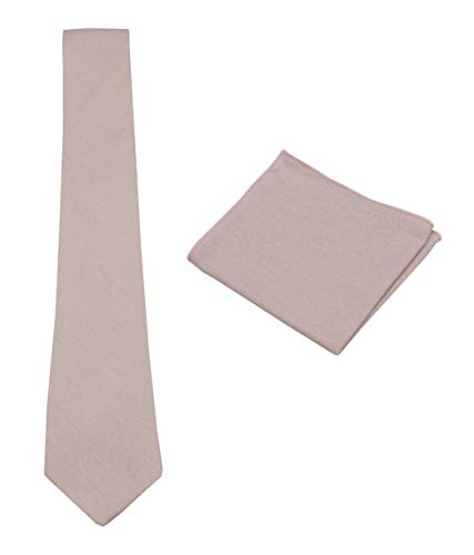 Mens Solid Linen Tie Set: Plain Slim Necktie with Matching Pocket Square-Various Colors (Pale Blush Pink)