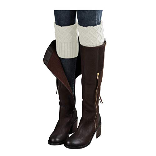 - Bestjybt Womens Short Boots Socks Crochet Knitted Boot Cuffs Leg Warmers Socks (White)
