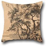 Throw Cushion Covers Of Oil Painting Paul Sandby - The Gypsy Fortune-Teller 16 X 16 Inches / 40 By 40 Cm,best Fit For Family,club,lover,kids Boys,drawing Room,shop 2 (How To Make A Halo Costume)