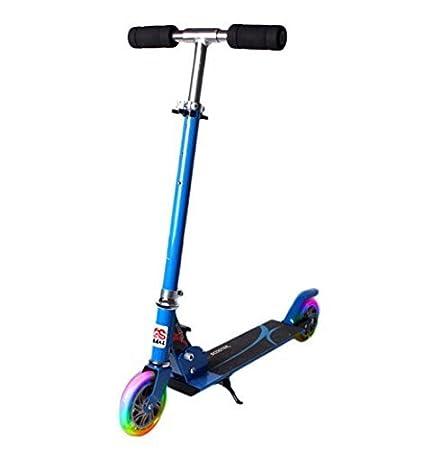Patinete infantil plegable - Patinete de dos ruedas ruedas luminoso y con 4 altura ajustable Scooter para niños, azul: Amazon.es: Deportes y aire libre