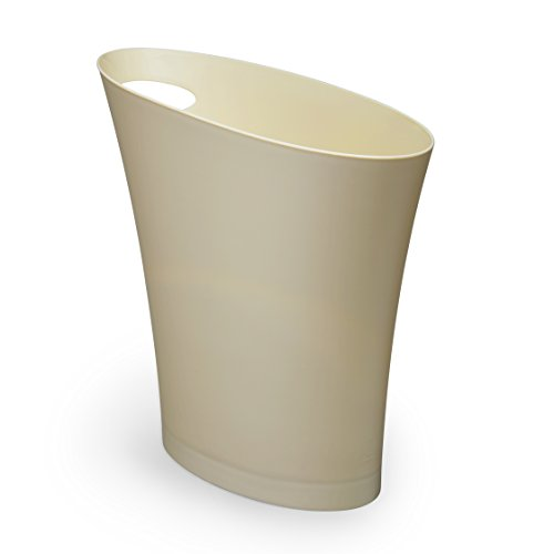 Ivory Wastebasket (Umbra Skinny Trash Can – Sleek & Stylish Bathroom Trash Can, Small Garbage Can Wastebasket for Narrow Spaces at Home or Office, 2 Gallon Capacity, Linen)