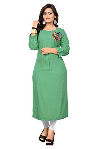 Kurti Kurta - Delisa Kurtis Ethnic Women Kurta Kurti Tunic Digital Print Top Dress Casual Wear 04 (Light Green-161, L-40)