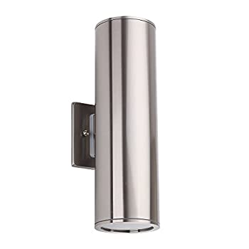 Outdoor Wall Light Fixture, IP54 Waterproof Porch Light Up/Down Cylinder for Garden & Patio, Stainless Steel [UL Listed]