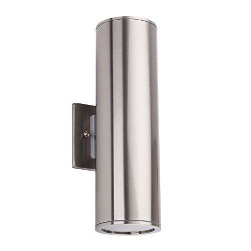 - Outdoor Wall Light Fixture, IP54 Waterproof Porch Light Up/Down Cylinder for Garden & Patio, Stainless Steel [UL Listed]