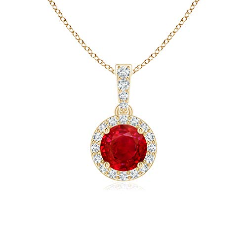 Round Ruby Dangle Pendant with Diamond Halo in 14K Yellow Gold (5mm Ruby)