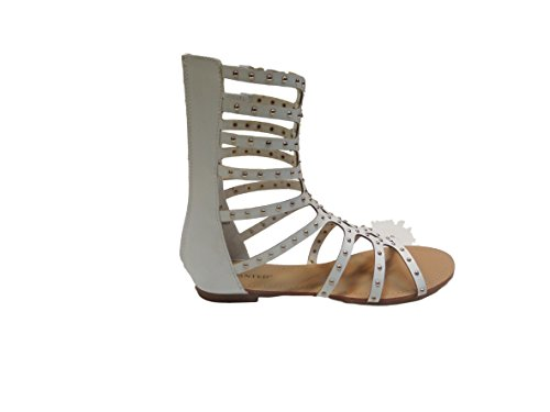 Studded Straps Sandal with Gladiator Cero Womans Mid 7 Calf Wanted white xWU1wSqOZa