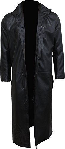 Spiral Mens - Just Tribal - Gothic Trench Coat PU-Leather With Full Zip - XL
