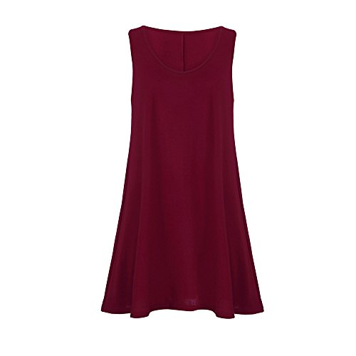 - Gogoodgo ❤️Women's Sleeveless Vest Dress for Women, Ladies Pure O-Neck Swing Peplum Dress Simple Skin Friendly Camis Dress Wine