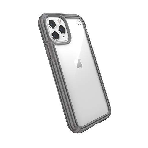 Speck Products Compatible Phone Case for Apple iPhone 11 Pro, Presidio V-Grip Case, Clear/Concrete Grey