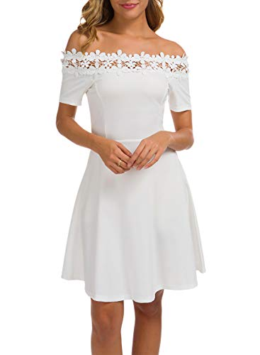 Little White Dress for Women's Summer Floral Lace Vintage Cocktail A Line Juniors Teens Elegant Off The Shoulder Wedding Party Dresses 936 (M, White) ()