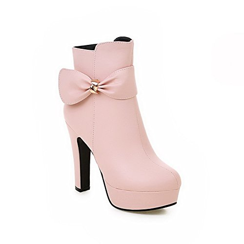 AllhqFashion Womens Round Closed Toe Solid Low Top High Heels Boots with Bows Pink