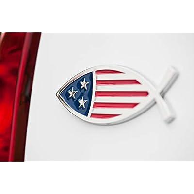 Christian Fish USA Flag Car Emblem - Made in USA: Automotive