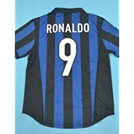 BROOK Ronaldo#9 Inter Milan Home Retro Soccer Jersey 1998-1999 Full UCL. Patch
