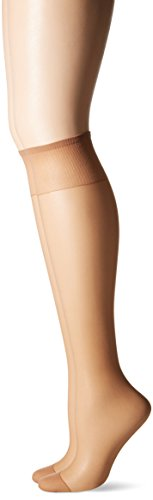 (Hanes Silk Reflections Reinforced Toe Knee-Highs (Little Color/One Size) Pack of Two )