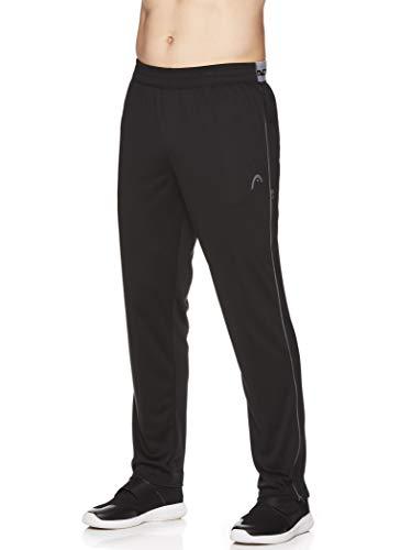 HEAD Men's Running Pants - Performance Jogging Workout & Training Sweatpants w/Zippered Pockets - Lead Black, Large