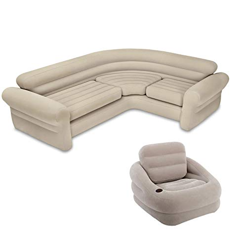 Intex Inflatable Corner Living Room Neutral Sectional Sofa + Khaki Accent Chair