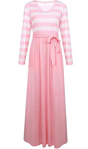 Dress Maxi Jaycargogo Club Casual Round Womens Stripe Pink Printed Stitching Collar CB0xpqBzw