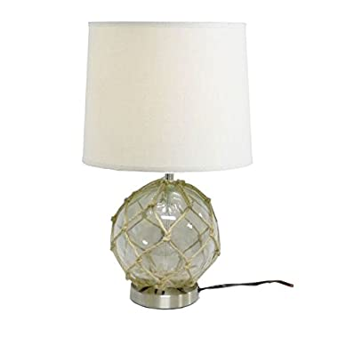 Japanese Float Table Lamp Wrapped with Twine Beach Themed Light Fixture (White)