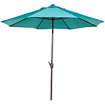 Abba Patio 9u0027 Patio Umbrella Market Outdoor Table Umbrella With Auto  Tilt/Crank, 8 Ribs, Turquoise