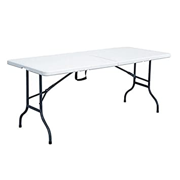 Rekkem Table pliante Blanc/Noir 180 x 75 x 74 cm 101587: Amazon.fr ...