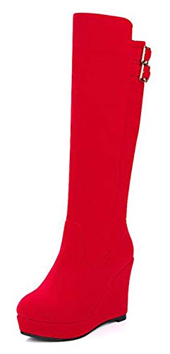 CHFSO Womens Elegant Round Toe Zipper Buckle High Wedge Heel Knee High Winter Boots Red