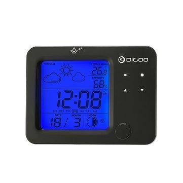 Detector Alert Time - Wireless Blue Backlit Hygrometer Thermometer Weather Forecast Station Sensor Alarm Clock - Consternation System Alarum Warning Device - 1PCs -