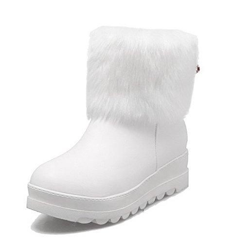 VogueZone009 Damen Rein PU Ziehen auf Niedriger Absatz Rund Zehe Stiefel Weiß