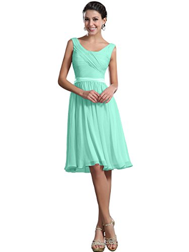 Remedios A-Line Chiffon Bridesmaid Dresses Short Party Gown for Prom Homcoming,#48 Mint Green,US10