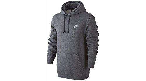 Nike Mens Sportswear Pull Over Club Hooded Sweatshirt - Large - Charcoal Heather/White