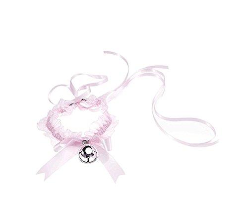 Ziper Sweety Lolita black Lace Heart Choker Collar (Pink)