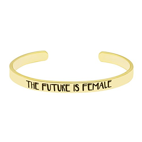 UNQJRY Jewelry Gift for Women Inspirational Cuff Bracelets 18K Gold Bangle Mantra Quotes - Future Jewelry