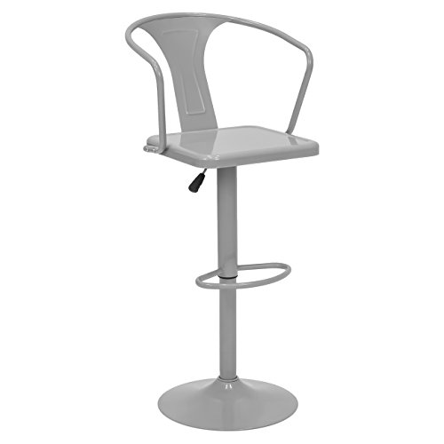 Best Choice Products Height Adjustable Metal Bar Stool with Back Support (Silver) (Back Bar Chair With)