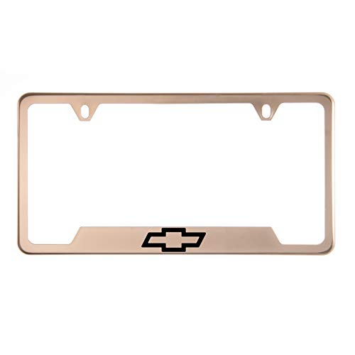 1x Laser Etched Chevy Logo on Rose Gold Polish Bottom Cut Out Stainless Steel License Plate Frame Holder with Aluminum Screw Cap