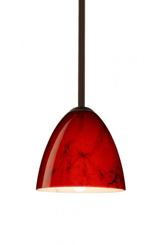 - Besa Lighting 1TT-4470MA-BR 1X60W A19 Vila Pendant with Magma Glass, Bronze Finish