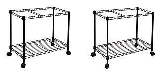 Oceanstar Portable 1-Tier Metal Rolling File Cart, Black (2-(Pack)) ()