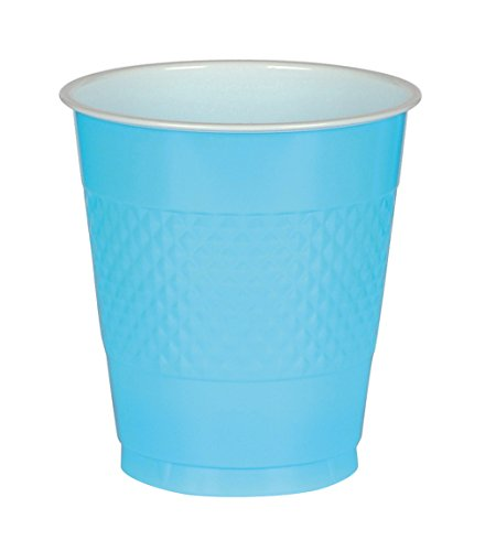 (Caribbean Blue Reusable Plastic Cups For Parties, 12 Oz, 20 Ct. )