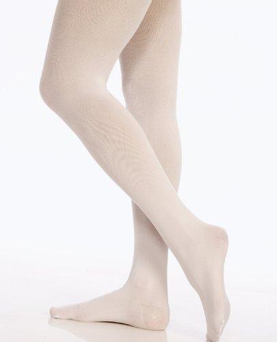Danskin Little Girls' Shimmery Footed Tight, White,S (4/6) ()