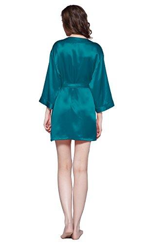 LILYSILK Bata Corta para Mujer de Seda - 100% Seda de Mora Natural de 22MM, Super Cómoda y Transpirable Azul Real