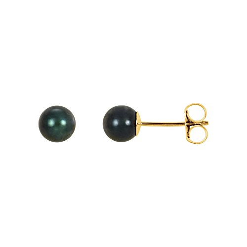 Black Akoya Cultured Pearl Stud Earrings in 14k Polished Yellow Gold -0.20 inch stone for - Akoya Brooch Pearl