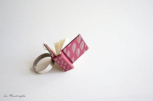 Tiny Red Book Ring with Gold and White Leaves. Book lover ring. Adjustable ring