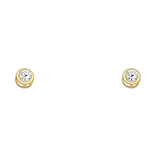14k Yellow Gold 5mm Round Bezel Set Stud Earrings with Screw Back