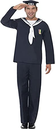 1940s Men's Costumes: WW2, Sailor, Zoot Suits, Gangsters, Detective Mens 1940s Wartime Fancy Party Dress Naval Seaman Costume Outfit $62.99 AT vintagedancer.com