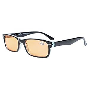 Eyekepper Spring Hinges UV Protection,Anti Glare,Anti Blue Rays,Scratch Resistant Lens Computer Eyeglasses (Orange Tinted Lenses, Black) +0.0